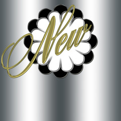 beautiful web banner, spelling the word NEW, with an elegant flower design, Isolated against the silver background.
