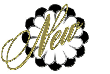 beautiful web banner, spelling the word NEW, with an elegant flower design, Isolated against the white background.