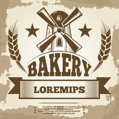 Vintage bakery poster design - bakery label with mill and wheat