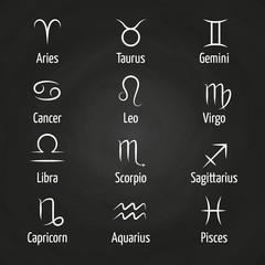 White Zodiac signs on blackboard