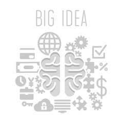 Big idea concept with brain on white background