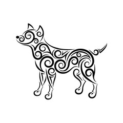Openwork smiling dog silhouette made of separate lines, spirals and swirls. Symbol of the year 2018. Black and white, easy to recolor. Vector illustration.