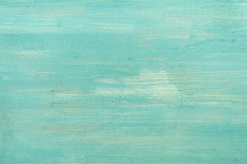 Abstract empty turquoise wooden textured background, close-up view