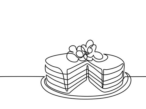 Continuous line drawing of big cake. Vector illustration black line on white background.