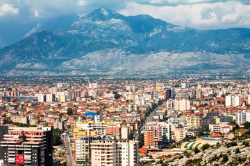 A view of Shkoder city under the mountains, Albania - Europe.