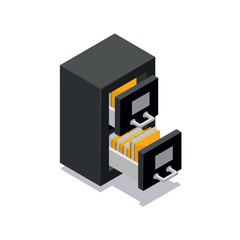 Isometric archive file cabinet icon