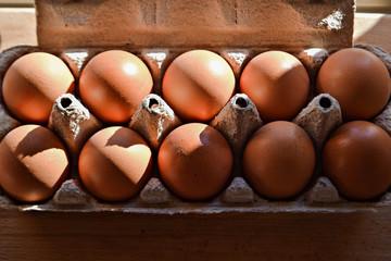 Dozen egg in the carton whit egg yolk isolated