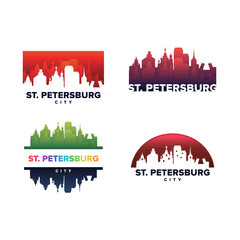 Cityscapes Skylines of St. Petersburg City Silhouette Logo Template Collection
