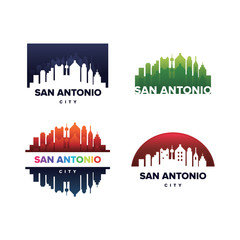 Cityscapes Skylines of San Antonio City Silhouette Logo Template Collection