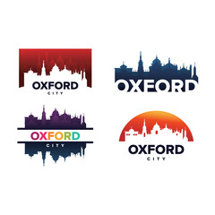Cityscapes Skylines of Oxford City Silhouette Logo Template Collection