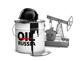 Helmet on the barrel of russian oil with oil pump, 3d illustration isolated white