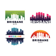 Cityscapes Skylines of Brisbane City Silhouette Logo Template Collection