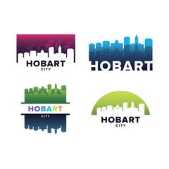 Cityscapes Skylines of Hobart City Silhouette Logo Template Collection