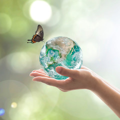 World environment day and environmental friendly concept with green earth on volunteer's hands. Element of image furnished by NASA