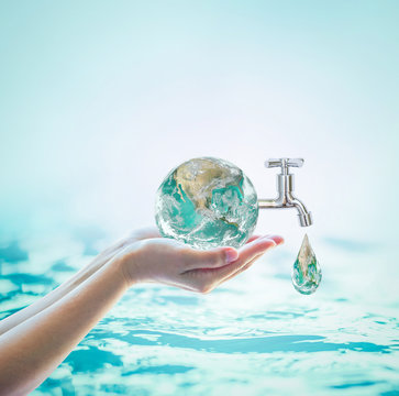 World water day, saving water campaign and environmental protection concept. Element of this image furnished by NASA