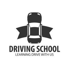 Driving school logo and emblem template. Auto education. Vector illustration.