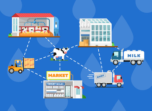 Eco milk production processing scheme. Modern cow farm, transportation and processing on milk factory, fresh and healthy dairy products distribution in market. Milk manufacturing vector illustration.