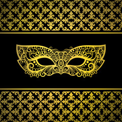 Gold carnival mask with luxury background