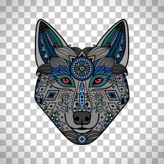 Wolf poster in ethnic boho style