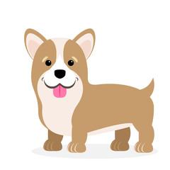 Vector illustration of a dog. Children's stylized picture. Welsh Corgi
