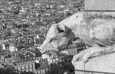 close up of gargoyle on The Basilica of the Sacred Heart of Paris