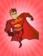 Super hero fireman cartoon. Retro style.