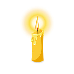 Vector illustration of a burning candle.