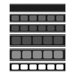 Cinema and photography 35 mm strip template set for your text or image. Monochrome film and photo tapes collection for design, banners, text. Cinematography vector elements