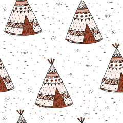 Hand drawn Cute seamless pattern with tee pee wigwam, North American Indian teepee.