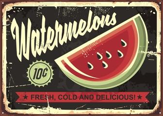 Watermelons retro advertise with watermelon slice on dark, black background. Vintage art.