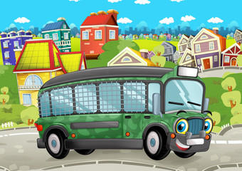 happy and funny cartoon military bus looking and smiling driving through the city - illustration for children