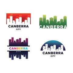 Cityscapes Skylines of Canberra City Silhouette Logo Template Collection