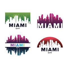 Cityscapes Skylines of Miami City Silhouette Logo Template Collection