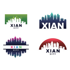 Cityscapes Skylines of Xian City Silhouette Logo Template Collection