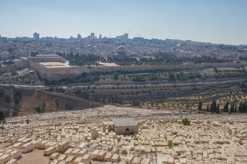 Jerusalem old city and cemetery Israel panorama