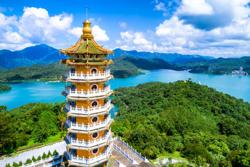 Aerial view of Pa Cien Pagoda in Nantou, Taiwan Pacien pagoda, Sun Moon Lake, Nantou, Taiwan