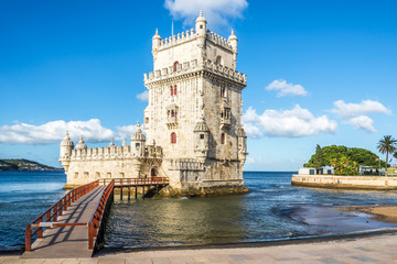 View at the Belem tower at the bank of Tejo River in Lisbon ,Portugal Wall mural