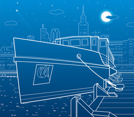 Ship on the river. Nigt city in the background. White lines transportation illustration. Vector design art