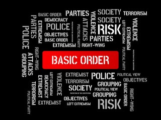 BASIC ORDER - image with words associated with the topic EXTREMISM, word, image, illustration