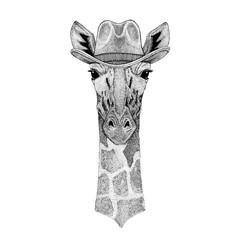Camelopard, giraffe Wild animal wearing cowboy hat Wild west animal Cowboy animal T-shirt, poster, banner, badge design