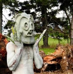Asaro Mudman tribe man in Mount Hagen festival in Papua New Guinea