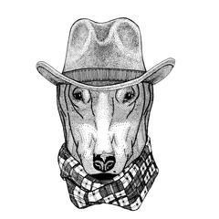 DOG for t-shirt design Wild animal wearing cowboy hat Wild west animal Cowboy animal T-shirt, poster, banner, badge design