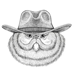 Portrait of fluffy persian cat Wild animal wearing cowboy hat Wild west animal Cowboy animal T-shirt, poster, banner, badge design