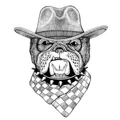 Bulldog Wild animal wearing cowboy hat Wild west animal Cowboy animal T-shirt, poster, banner, badge design