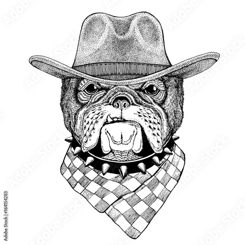 Bulldog Wild Animal Wearing Cowboy Hat Wild West Animal Cowboy