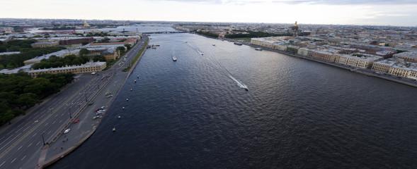River Neva embankments and bridges. Saint Petersburg.