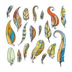Tribal feathers coloring. Doodle pictures isolated on white