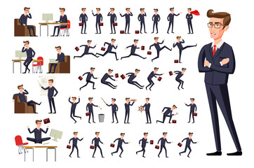 flat Manager office workplace. Male businessman in dark suit and red tie at work in various poses isolated on white background vector art