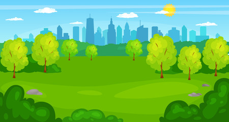 Vector illustration of a beautiful summer city park with town building background.