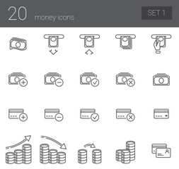 A simple set of icons symbolizing coin, finance, banking and business. Set 1